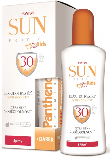 SWISS SUNProtect KIDS spray SPF30+ 200+50ml + Swiss Panthenol mléko 50ml ZDARMA